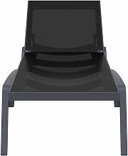 Miliboo - Chaise longue ajustable noire à