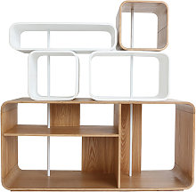 Miliboo - Étagère modulable bois clair et blanc