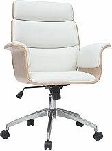 Miliboo - Fauteuil de bureau design blanc et bois