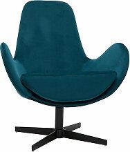 Miliboo - Fauteuil design pivotant velours bleu