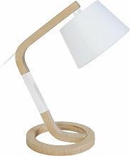 Miliboo - Lampe à poser design pied cercle bois
