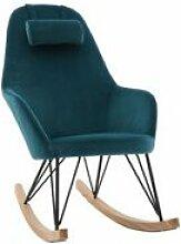 Miliboo Rocking chair scandinave en velours bleu