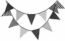 Milopon Guirlande de Fanions en Tissu Noir