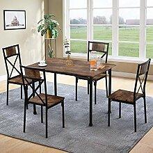 Mingfuxin Table de salle à manger en bois avec 4