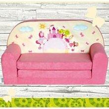 Mini-canapé lit enfant Château Rose