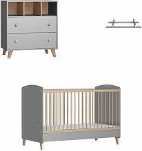 Mini chambre bébé avec plan à langer Kombu Gris