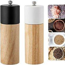 Mini moulin à poivre manuel en bois, salière et
