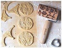 Mini rouleau en bois de décoration Noël Patisse