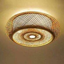 Minimaliste Tissé Bambou Plafond Abat-jour