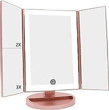 Miroir de maquillage Evazory, triple éclairage