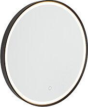 Miroir de salle de bain noir 50 cm avec LED avec