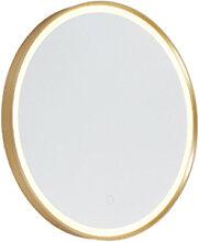 Miroir de salle de bain rond doré avec LED avec