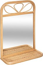 Miroir étagère, rotin 35x51 cm