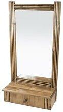 Miroir mural + 1 tiroir bois Sapin Vernis Sapin