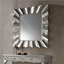 Miroir mural argenté laqué design MANDY
