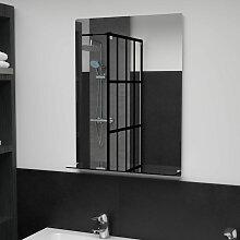 Miroir mural avec etagere 50x70 cm Verre trempe