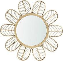 Miroir mural fleur rotin et bambou ethnique MILIO