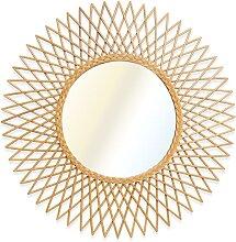 Miroir mural soleil style vintage CALAMUS en rotin