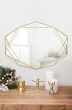 Miroir mural structure filaire métal doré