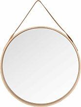 Miroir rond à suspendre en bouleau D59