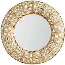 Miroir rond cannage rotin et bambou style ethnique