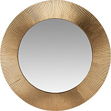 Miroir rond en métal doré strié D66