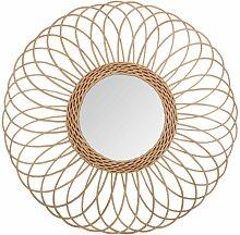 Miroir rotin rosace D58 - Beige