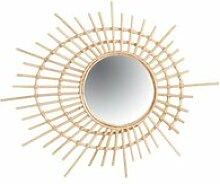 Miroir spirale en rotin