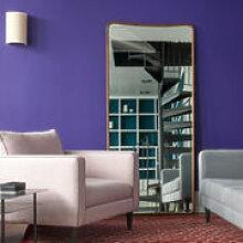 Miroir sur pied Ellipse / H 180 cm - Noyer /