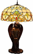 MISLD Lampe De Table Tiffany Traditionnelle