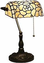 MISLD Lampe Vintage Vitrail Verre Yellow Rose