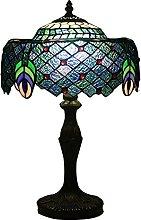 MISLD Tiffany Lampe De Table Paoncock Desk Light