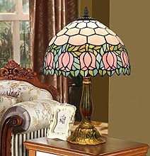 MISLD Tiffany Style Table Lampe Banquier Rose Rose