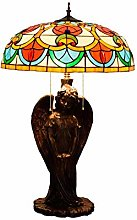 MISLD Tiffany Table Lampe Rose Pêche Glass Lampe