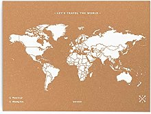 Miss Wood - Carte Monde Liege Couleur - BLANC,