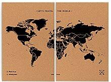 Miss Wood Map XXL-Carte du Monde en LiÈ Ge 90x120