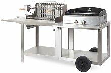 Mixte plancha à gaz et barbecue à charbon de