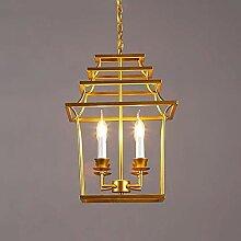 MKKM 4 Lumières Gold Postmodern Métal Cage Lampe