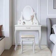 ML-Design Coiffeuse Table de Maquillage Blanc avec
