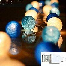 MLOPPTE Noël,Boule de Coton de noël Guirlande