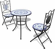 Mobilier de bistro 3 pcs Carreaux ceramiques Bleu