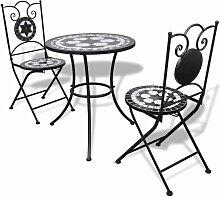 Mobilier de bistro 3 pcs Carreaux céramiques Noir