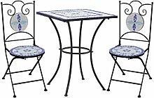 Mobilier de bistro 3 pcs mosaïque Carreau