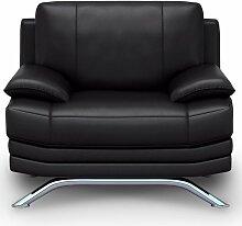 Mobilier Deco - ROMA - Fauteuil design en cuir noir