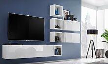 Mobilier TV mural blanc brillant - Brescia VII