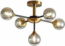 Moderne 5-lumières Spoutnik Lustre Or Placage