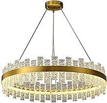 Moderne Anneau LED Salon Doré Cristal Pendentif