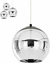 Moderne Cuivre Miroir Lustre Boule en Verre Câble