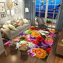 Moderne Et Simple Ménage Rose Fleur Salon Tapis