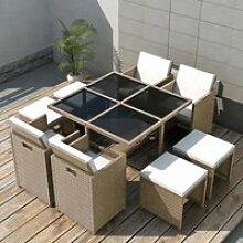 Moderne -Salon de jardin encastrable avec coussins